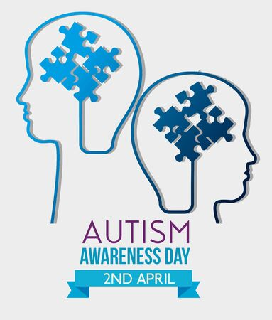 kids silhouette inside puzzles to autism day vector illustration 일러스트