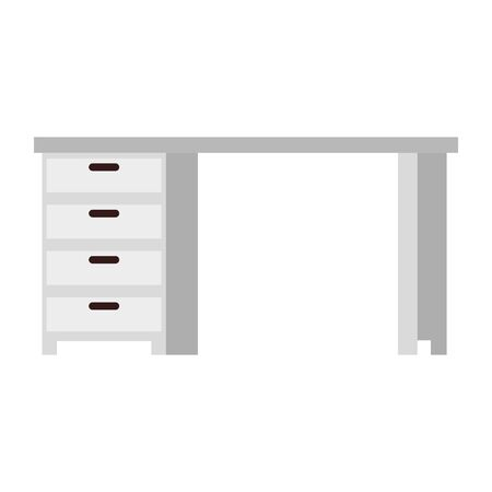 wooden desk office with drawers vector illustration design 向量圖像