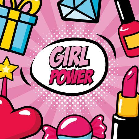 girl power pop art background vector illustration