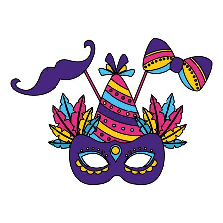 carnival mask hat mustache party vector illustration  イラスト・ベクター素材