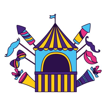 carnival booth flag on white background vector illustration design