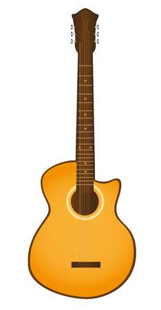 chitarra arancione isolato su sfondo bianco. vettore Vettoriali