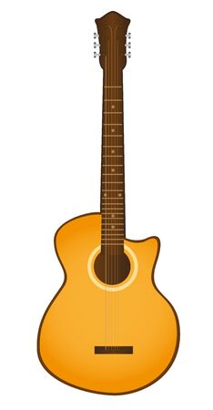 orange guitar isolated over white background. vector