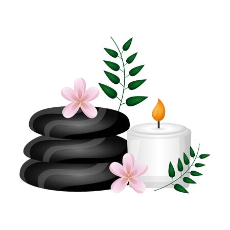 stones candle leaves spa treatment therapy vector illustration Illustration