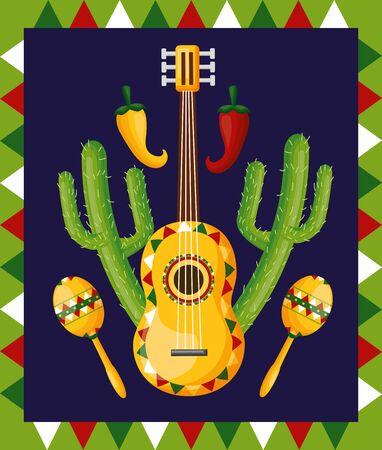 guitar maracas cactus celebration garland cinco de mayo vector illustration  イラスト・ベクター素材