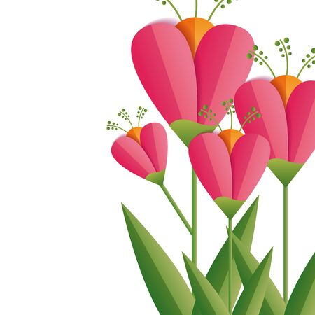 flowers stem leaves decoration nature vector illustration Stok Fotoğraf - 129490991