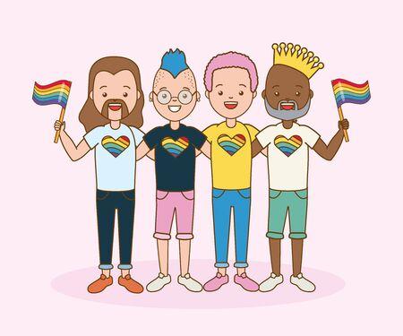 Grupo de hombres con bandera orgullo ilustración vectorial Ilustración de vector