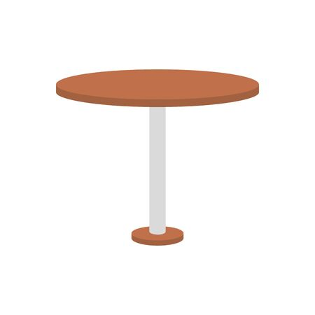 circular table wooden forniture isolated icon vector illustration design