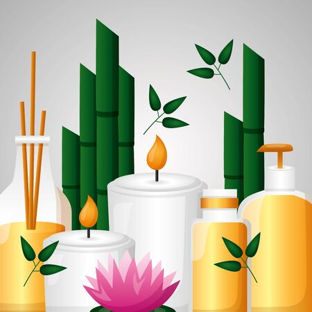 aromatherapy candles lotion flower bamboo spa therapy vector illustration