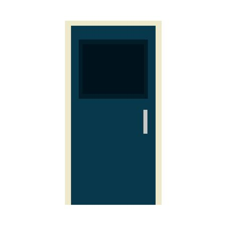 wooden house door closed icon vector illustration design