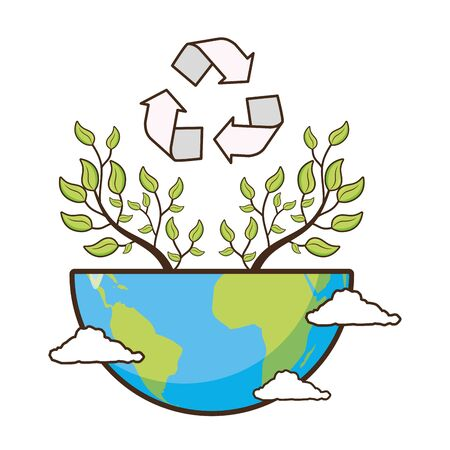 planet recycle ecology earth day card vector illustration