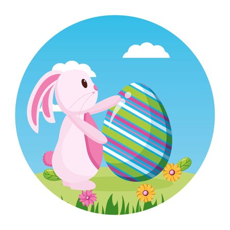 happy easter rabbit flowers grass sky vector illustration  イラスト・ベクター素材