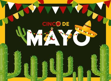 hat cactus celebration garland cinco de mayo vector illustration