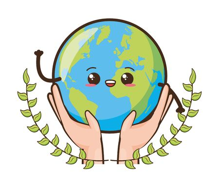 kawaii planet in hands earth day card vector illustration Ilustração