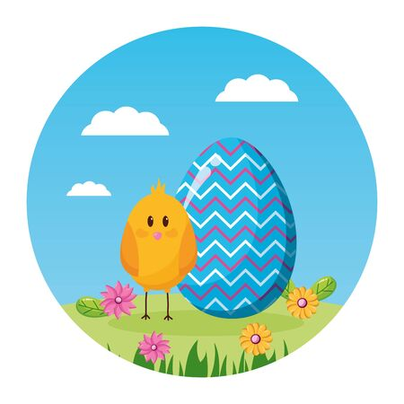 happy easter chicken flowers grass vector illustration  イラスト・ベクター素材