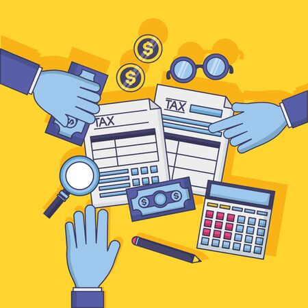 tax payment hands with forms calculator money magnifier vector illustration