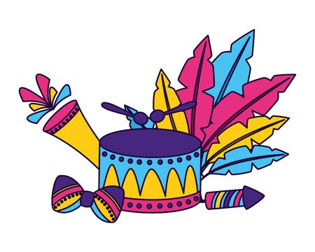 drum fireworks feathers carnival vector illustration design  イラスト・ベクター素材