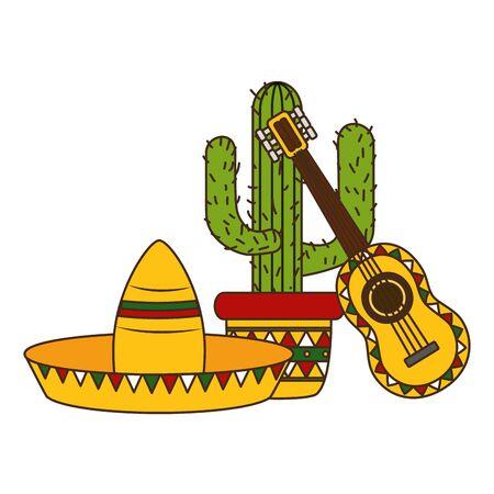 hat guitar and cactus mexico cinco de mayo vector illustration