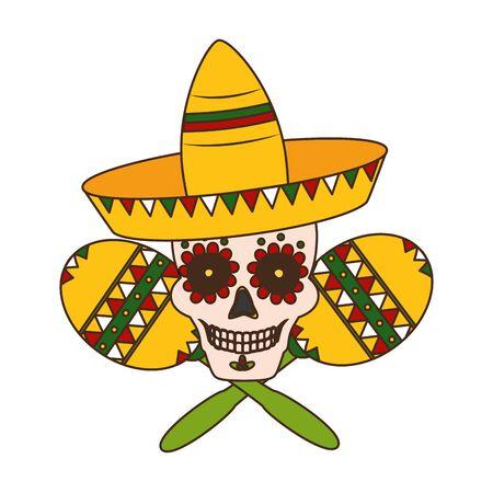 skull hat and maracas mexico cinco de mayo badge vector illustration  イラスト・ベクター素材