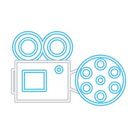 projector cinema movie neon on white background vector illustration  イラスト・ベクター素材