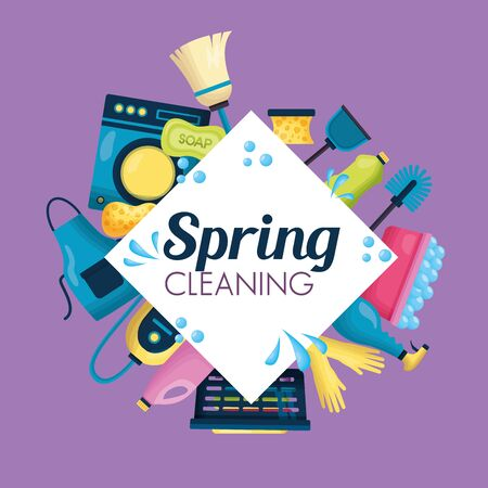 spring cleaning tools frame supplies vector illustration