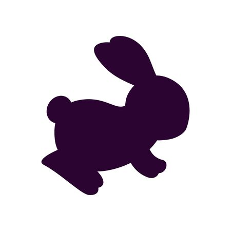cute and little rabbit silhouette vector illustration design