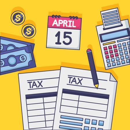 Document de paiement d'impôt calculatrice calendrier crayon billet vector illustration Vecteurs