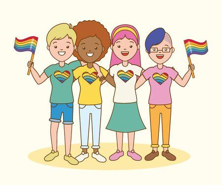 group women with flag lgbt pride vector illustration Çizim