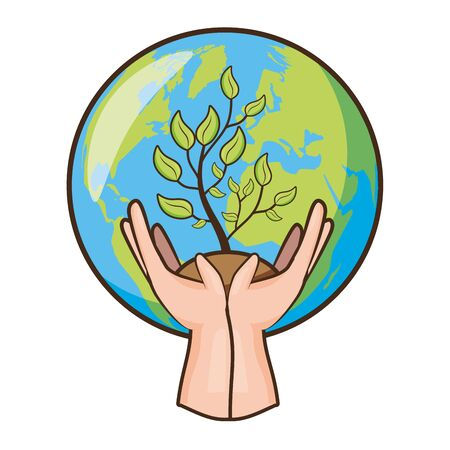 hands with potted plant planet earth day vector illustration