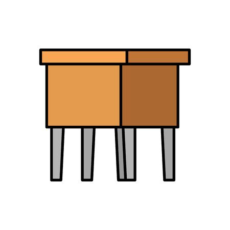 wooden bench forniture isolated icon vector illustration design Illustration