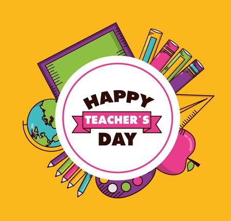 school blackboard globe apple books badge teachers day