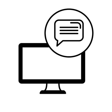 desktop computer device with speech bubble vector illustration design  イラスト・ベクター素材