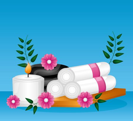 towels candle stone flowers spa treatment therapy vector illustration 일러스트