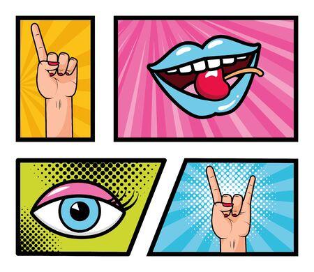 set pop art elements hand mouth eye power girl vector illustration