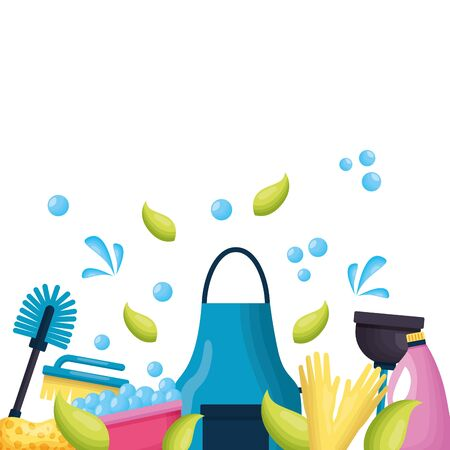 apron detergent brush gloves spring cleaning tools vector illustration