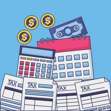 tax payment document calendar calculator banknote coins vector illustration