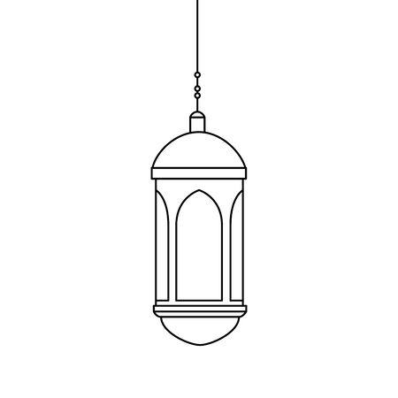 斋月卡里姆灯笼悬挂图标矢量插图设计