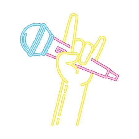 hand with microphone karaoke neon vector illustration