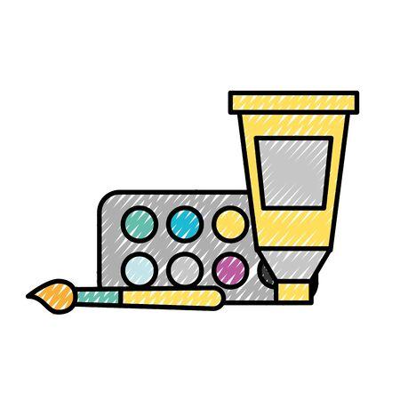 artistic design color tube palette and brush vector illustration
