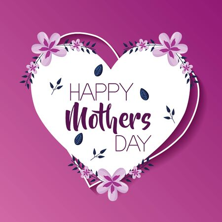 mothers day flowers heart love label vector illustration