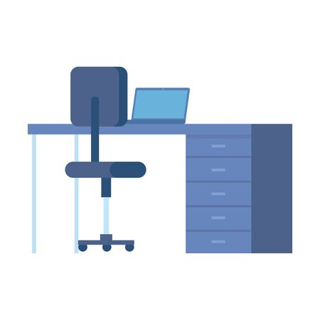 desk with laptop and chair office equipment vector illustration design