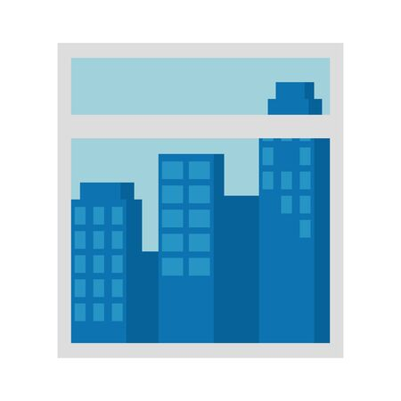 window with cityscape view scene vector illustration design Standard-Bild - 129499733