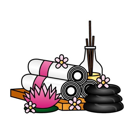 aromatherapy sticks towels stones flowers spa treatment therapy vector illustration Иллюстрация