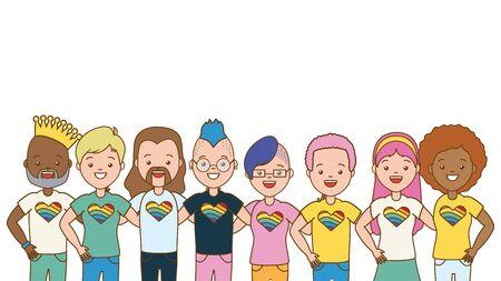 group men and women lgbt pride vector illustration Ilustracja