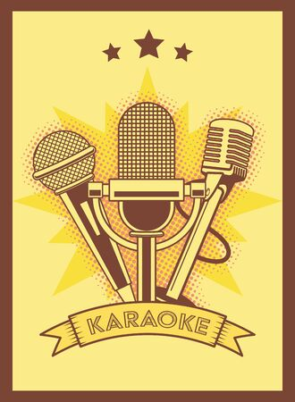 microphones karaoke retro style poster vector illustration