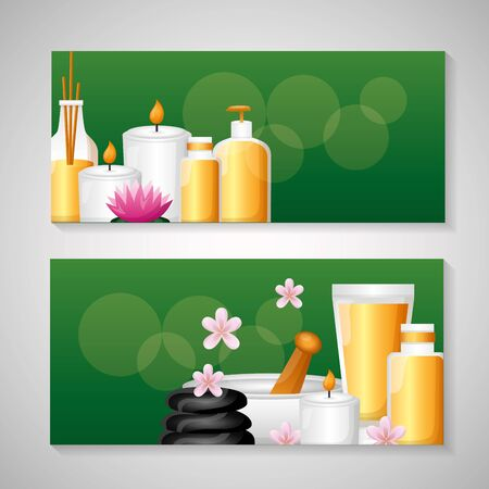 spa treatment therapy banner stones bowl lotion gel vector illustration