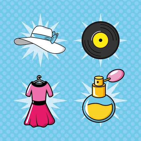 pop art elements collection hat vinyl dress fragrance vector illustration Illustration