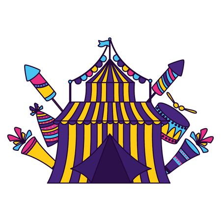 carnival tent circus drum hat vector illustration design