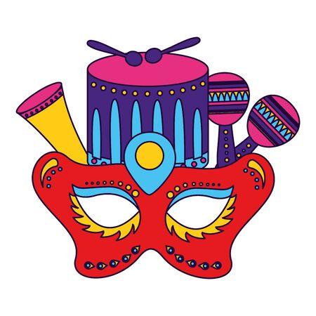 carnival mask drum maracas vector illustration design Çizim