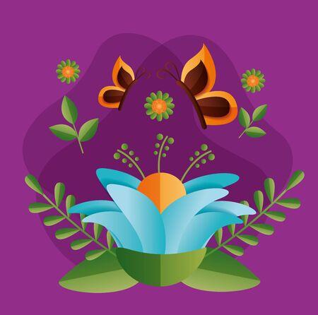 flowers butterflies nature spring vector illustration design
